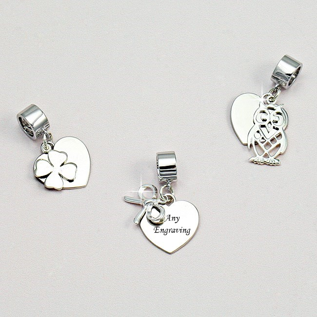 engraved on bail owl bow clover charming engraving