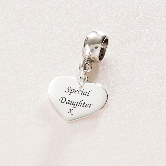 Special Daughter Sterling Silver Heart Charm Fits Pandora